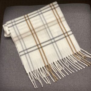 Cejon Cream Plaid Scarf, 100% Acrylic